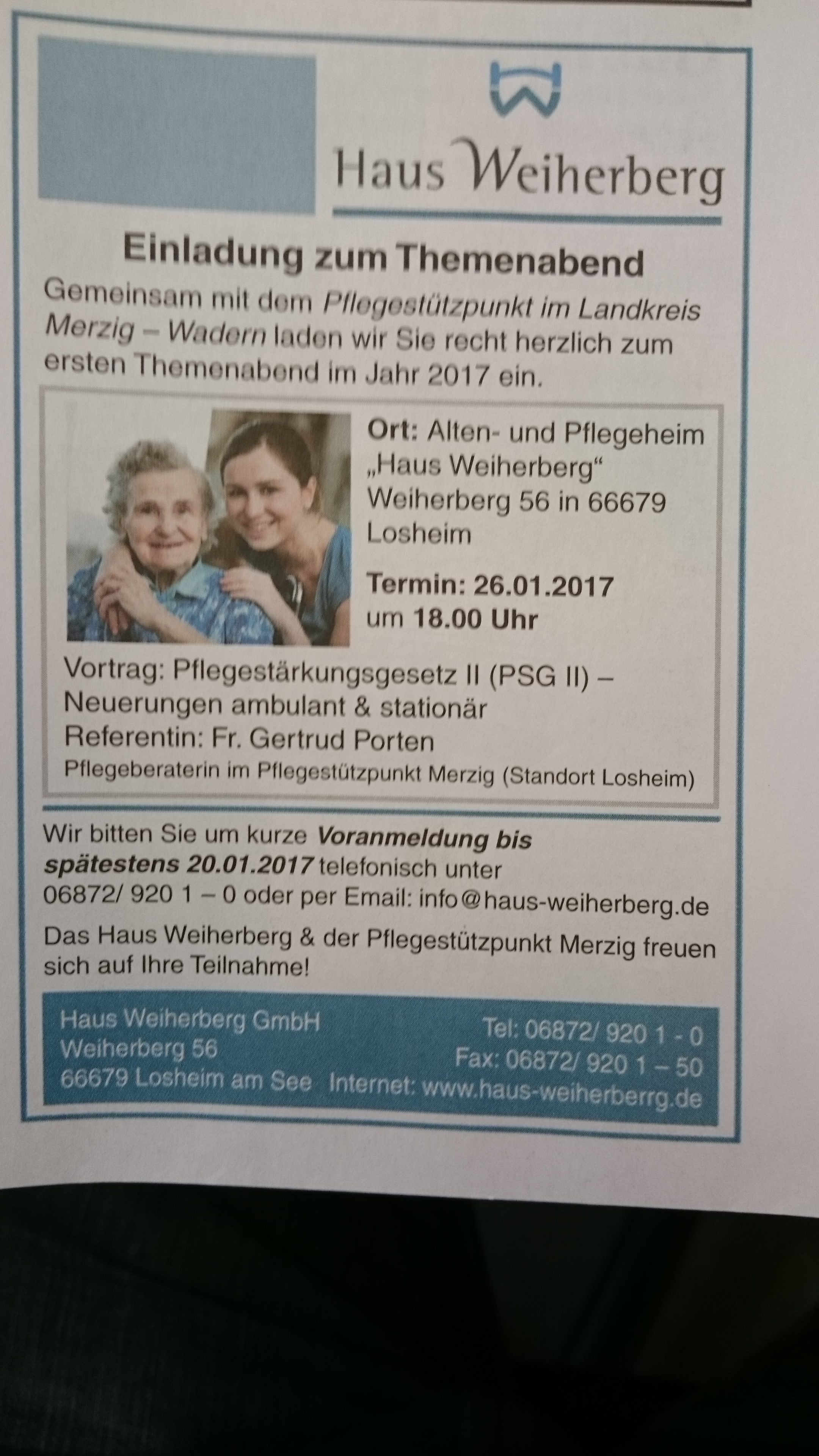 Neu ab 2017: Themenabende im Haus Weiherberg in Losheim am See