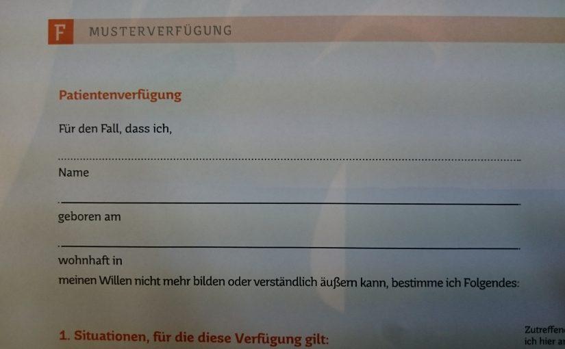 Letzter Themenabend in 2017 – Patientenverfügung in Losheim am See