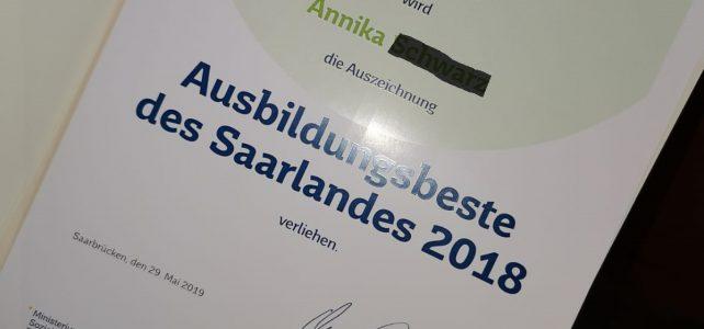 Haus Weiherberg: Ausbildungsbeste des Saarlandes 2018
